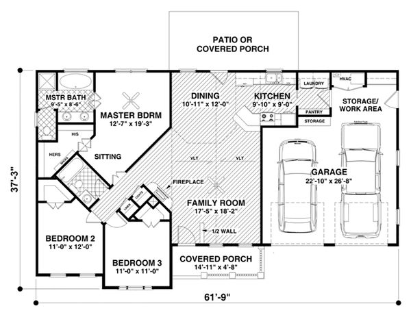 Craftsman Floor Plan - Main Floor Plan Plan #56-618