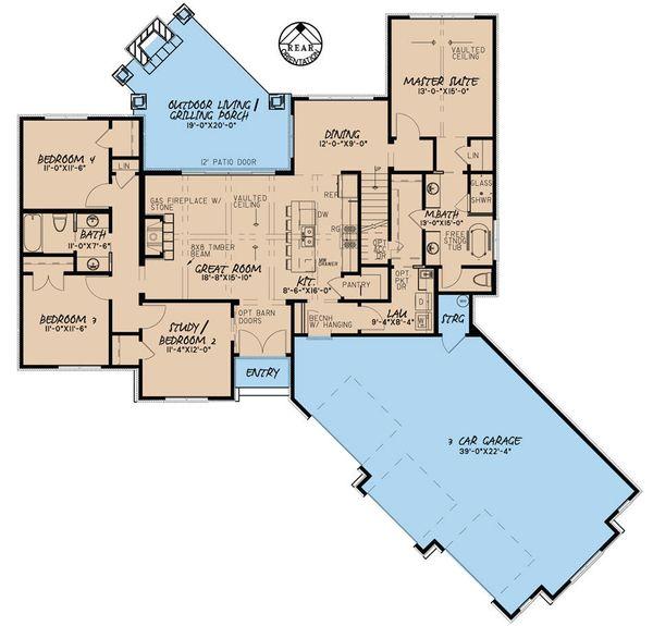 European Floor Plan - Main Floor Plan Plan #923-56
