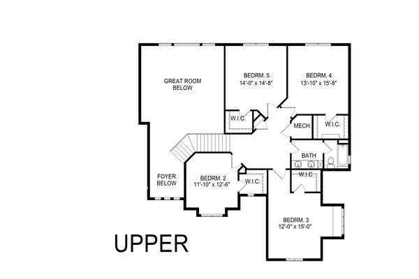 Craftsman Floor Plan - Upper Floor Plan Plan #920-104