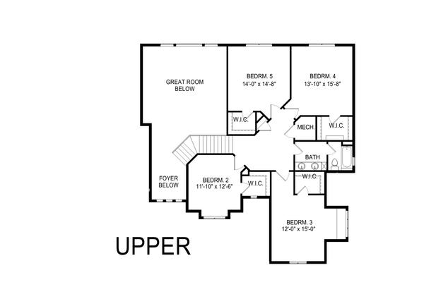Craftsman Floor Plan - Upper Floor Plan Plan #920-104