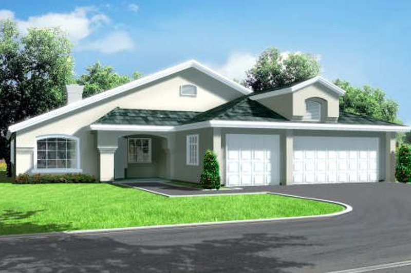Mediterranean Style House Plan - 3 Beds 3 Baths 1855 Sq/Ft Plan #1-1360 Exterior - Front Elevation