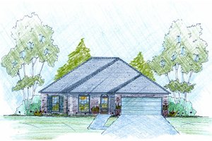 Southern Exterior - Front Elevation Plan #36-498