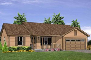 Ranch Exterior - Front Elevation Plan #116-303