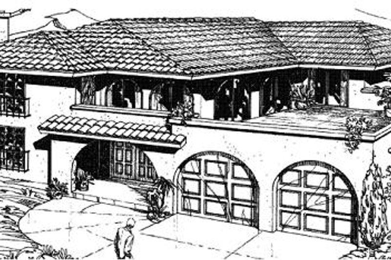 Mediterranean Style House Plan - 3 Beds 2.5 Baths 2478 Sq/Ft Plan #1-577