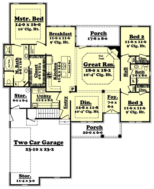 European Floor Plan - Main Floor Plan Plan #430-44