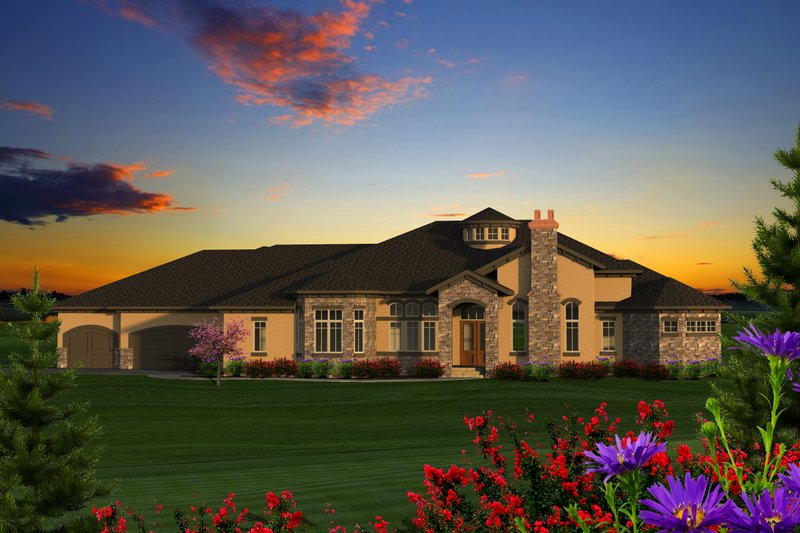 Ranch Exterior - Front Elevation Plan #70-1234