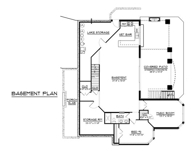 Dream House Plan - Ranch Floor Plan - Lower Floor Plan #1064-89