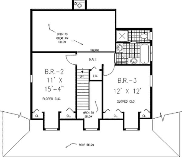 Country style house plan, farmhouse upper level floor plan