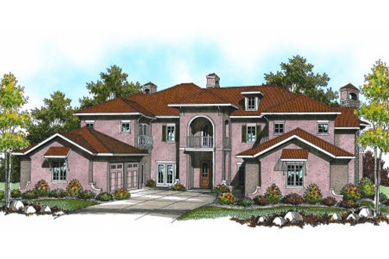 Mediterranean Exterior - Front Elevation Plan #70-962