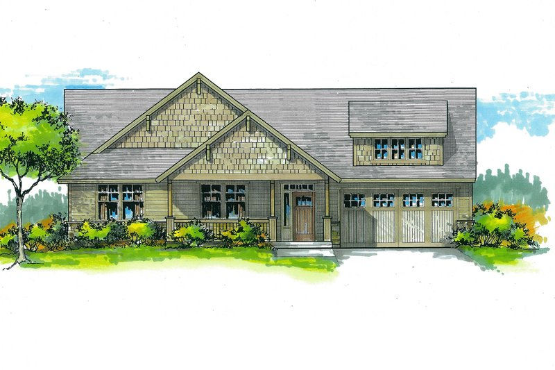 Craftsman Style House Plan - 3 Beds 2 Baths 1726 Sq/Ft Plan #53-464 Exterior - Front Elevation