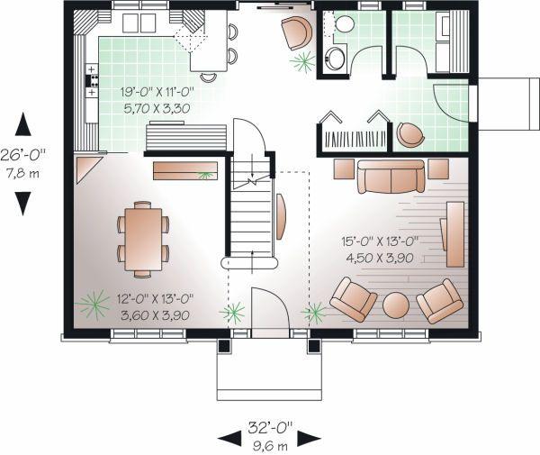 Colonial Floor Plan - Main Floor Plan Plan #23-736