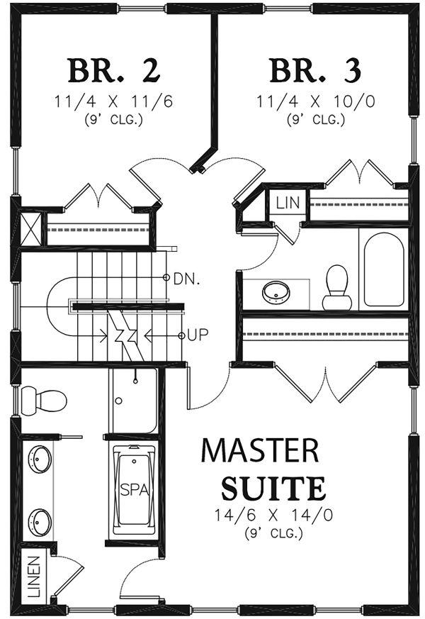Farmhouse Floor Plan - Upper Floor Plan Plan #48-964