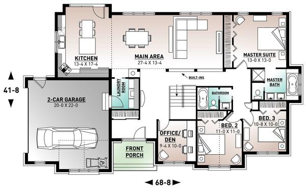 Architectural House Design - European Floor Plan - Main Floor Plan #23-646