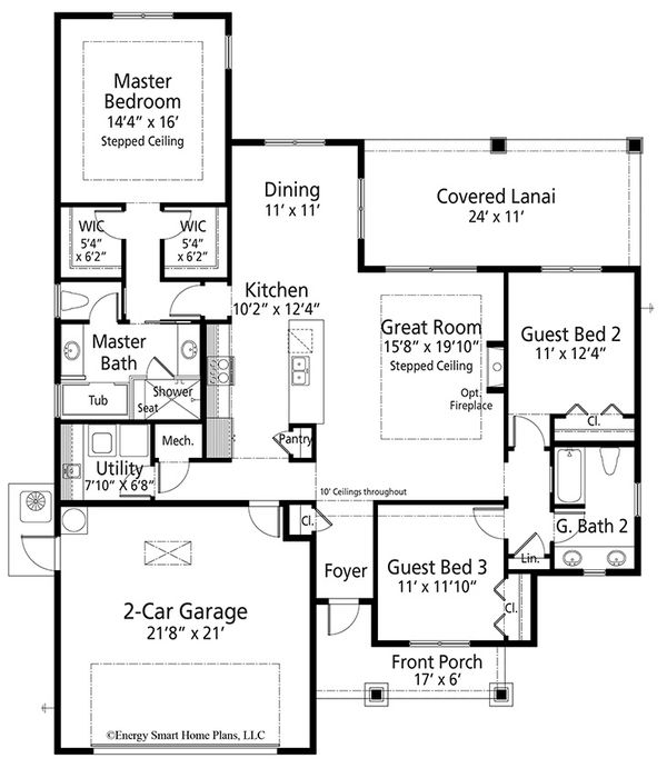 Craftsman Floor Plan - Main Floor Plan Plan #938-99