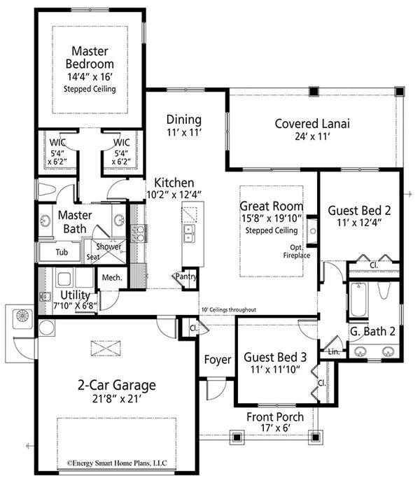 Craftsman Floor Plan - Main Floor Plan Plan #938-99
