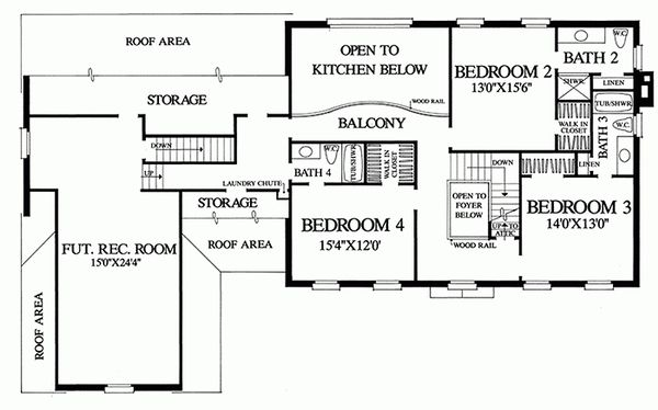 Colonial Floor Plan - Upper Floor Plan Plan #137-155