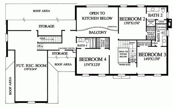 Colonial Floor Plan - Upper Floor Plan #137-155