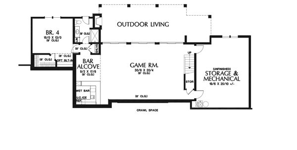 Modern Floor Plan - Lower Floor Plan Plan #48-926