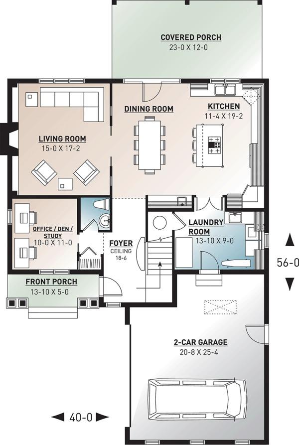 Traditional Floor Plan - Main Floor Plan Plan #23-2557