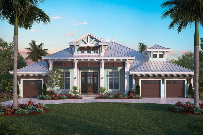 Contemporary Style House Plan - 4 Beds 4.5 Baths 6262 Sq/Ft Plan #27-565 Exterior - Front Elevation