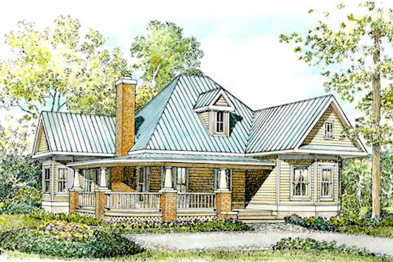Farmhouse Style House Plan - 2 Beds 2 Baths 1270 Sq/Ft Plan #140-133 Exterior - Front Elevation