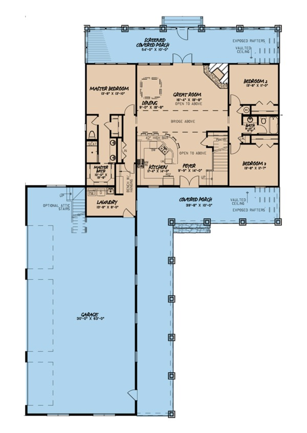 Farmhouse Floor Plan - Main Floor Plan Plan #923-104