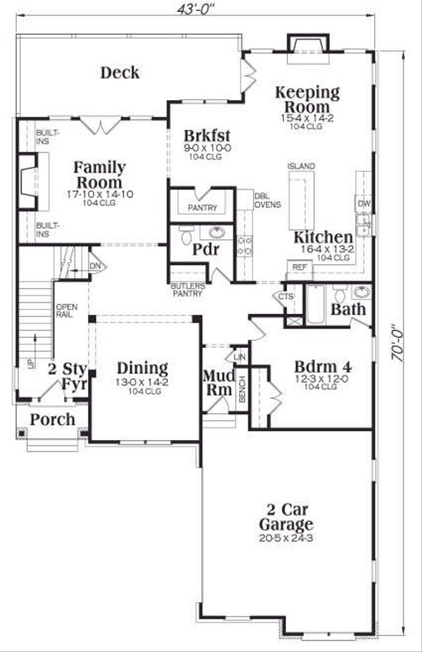 Traditional Floor Plan - Main Floor Plan Plan #419-169