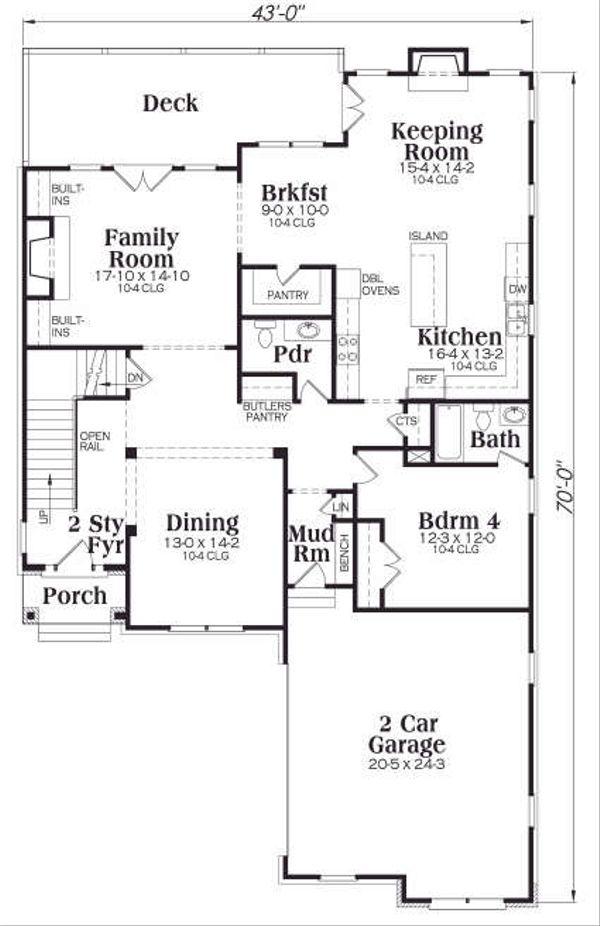 Dream House Plan - Traditional Floor Plan - Main Floor Plan #419-169
