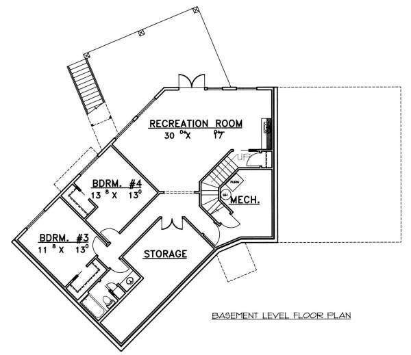 Modern Floor Plan - Lower Floor Plan Plan #117-582