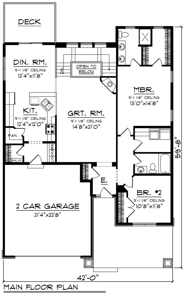 Ranch Floor Plan - Main Floor Plan Plan #70-1264