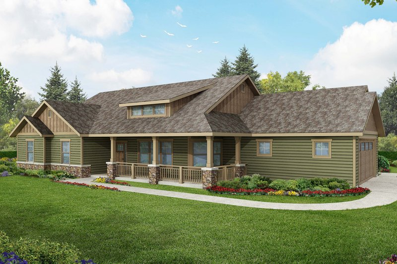 Ranch Exterior - Front Elevation Plan #124-948