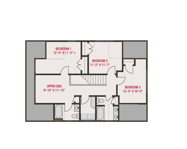 Craftsman Floor Plan - Upper Floor Plan Plan #461-66