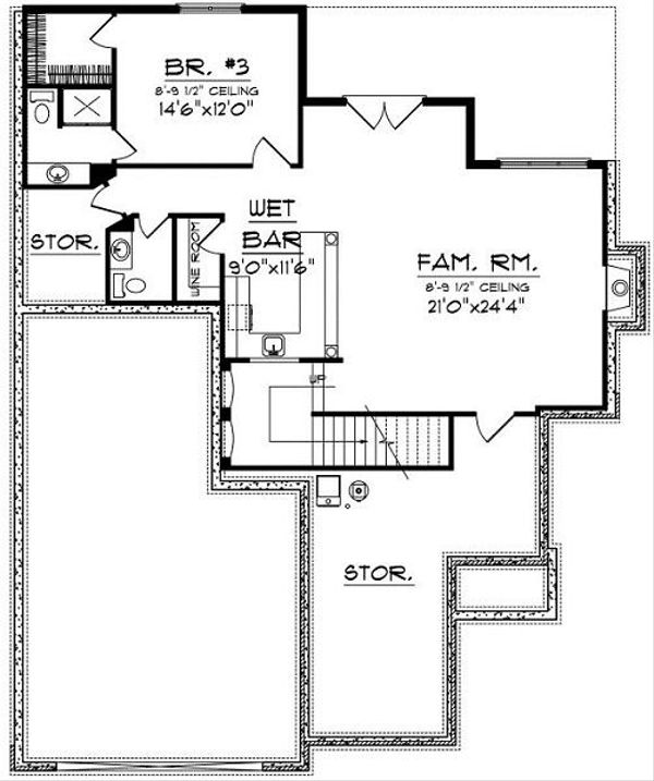 European Floor Plan - Lower Floor Plan Plan #70-860