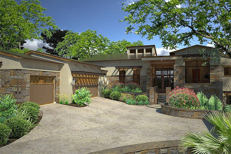 Dream House Plan - Contemporary style, modern design home, front elevation