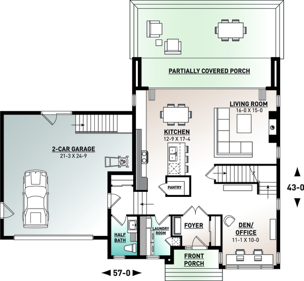 Contemporary Floor Plan - Main Floor Plan Plan #23-2645