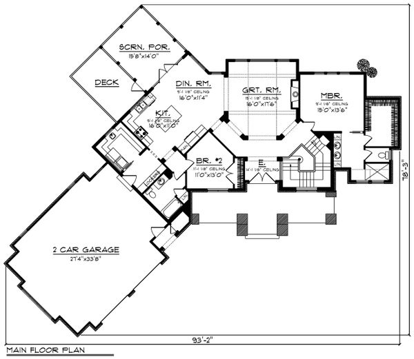 Craftsman Floor Plan - Main Floor Plan Plan #70-1192