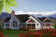 Craftsman Style House Plan - 2 Beds 2 Baths 1836 Sq/Ft Plan #70-1192 Exterior - Rear Elevation