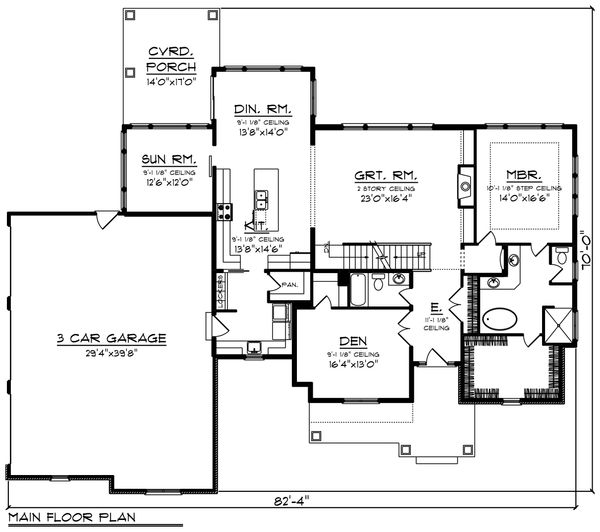 Farmhouse Floor Plan - Main Floor Plan Plan #70-1469