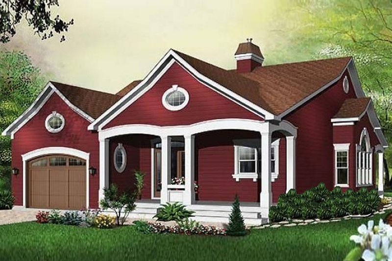 Country Style House Plan - 3 Beds 2.5 Baths 2118 Sq/Ft Plan #23-404 Exterior - Front Elevation