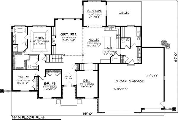 Ranch Floor Plan - Main Floor Plan Plan #70-1121