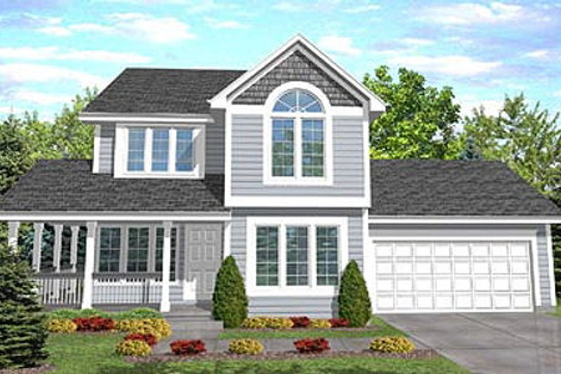 Country Style House Plan - 4 Beds 3 Baths 1638 Sq/Ft Plan #50-115 Exterior - Front Elevation