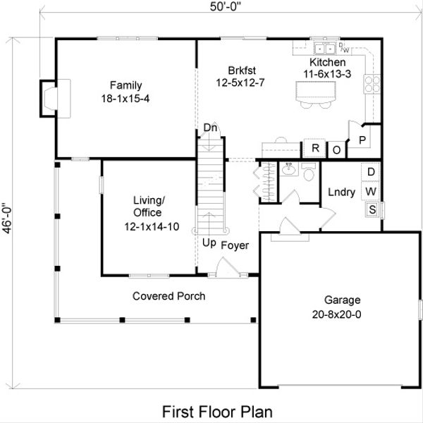Country Floor Plan - Main Floor Plan Plan #22-520