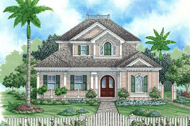 Beach Style House Plan - 3 Beds 3.5 Baths 3379 Sq/Ft Plan #27-367 Exterior - Front Elevation