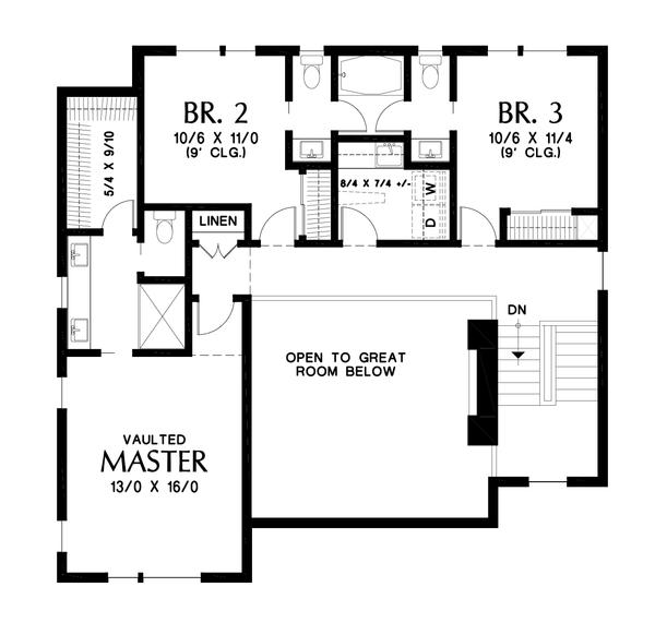 Contemporary Floor Plan - Upper Floor Plan Plan #48-1009