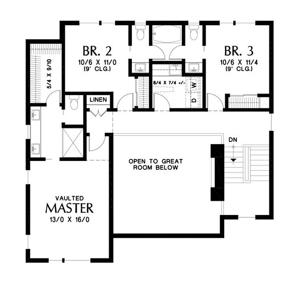Contemporary Floor Plan - Upper Floor Plan #48-1009