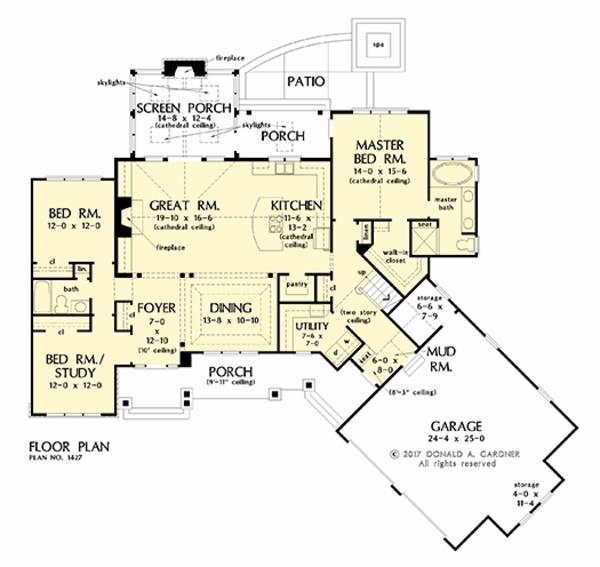 Craftsman Floor Plan - Main Floor Plan #929-1040