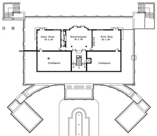 Home Plan - Classical Floor Plan - Lower Floor Plan #119-124