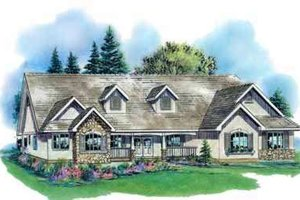 Country Exterior - Front Elevation Plan #18-328