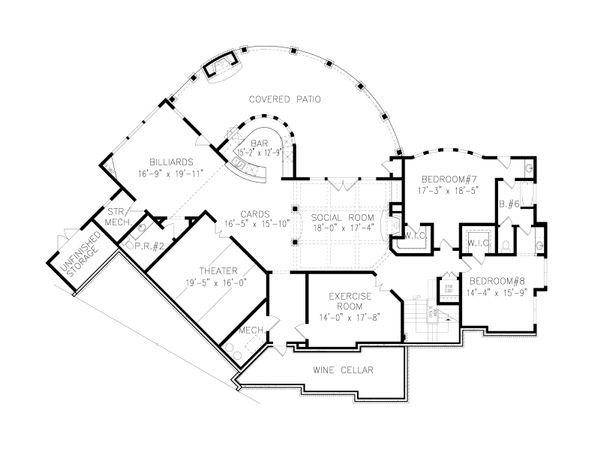 Craftsman Floor Plan - Lower Floor Plan #54-411