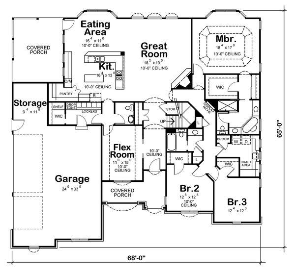 European Floor Plan - Main Floor Plan Plan #20-1822